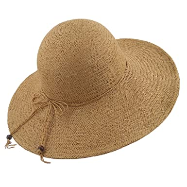 2c960aa611d54 LETHMIK Summer Beach Straw Hat Womens Wide Brim Floppy Packable Sun Hat 2018  Khaki  Amazon.co.uk  Clothing