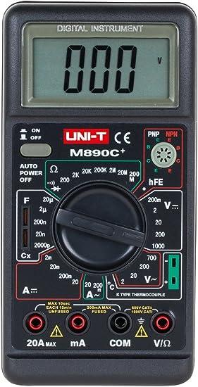 Uni-Ball T Mult/ímetro Digital de medici/ón de temperatura m890/C negro