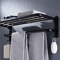 Opvouwbaar 90 °; Handdoekenrek, Zwart Handdoekrek voor Wandmontage, Zwarte Handdoekhouder, Handdoekenrek Met Plank…