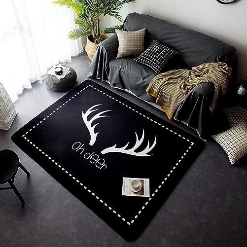 YOHA Black Velvet Soft Kids Play Mat Rug Non-Slip Crawling Carpet Living Room Mats Area Rugs Home D cor 4.8 x 6.4 ,Deer