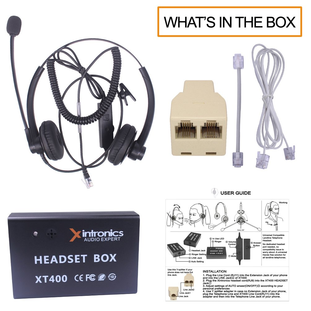 RJ9 Headsets with Answer Button Volume Mute Controls Xintronics Corded Telephone Headset Mono Universal Compatible with Most Landline Desk Phones Noise Cancelling Mic XT400