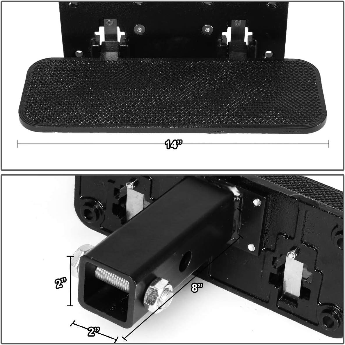 DNA Motoring ZTL-Y-0111-BK 2 Inches Receiver Heavy Duty Aluminum Trailer Folding Hitch Step Board Universal