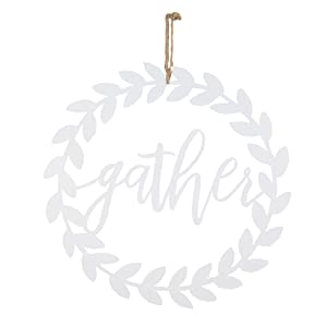 """NIKKY HOME Metal Cutout Gather Word Wall Art Hanging Sign Plaque, 18"""" x 17"""""""