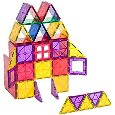 Playmags 60 Piece Set: Now with Stronger Magnets, Sturdy, Super Durable with Vivid Clear Color STEM Magnetic Toys Develop Motor Skills & Creativity, Colorful, Durable Magnet Building Tiles: Toys & Games [5Bkhe0404964]