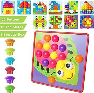 MEYUEWAL Arte del botón, Rompecabezas para niños y niñas de 2 y 3 ...