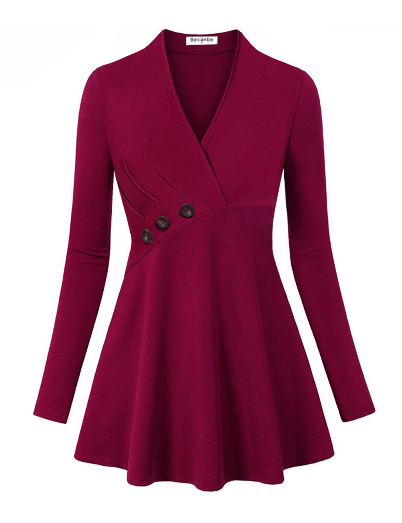 Becanbe Tunics for Women for Leggings, Long Sleeve V Neck Flat Blouse Henley Shirt(Wine,Small)