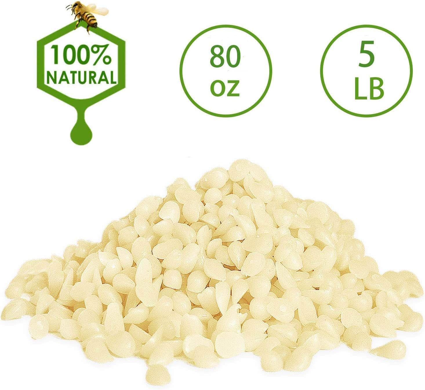 Howemon White Beeswax Pellets 5 lb 100% Pure and Natural Triple Filtered for Skin, Face, Body and Hair Care DIY Creams, Lotions, Lip Balm and Soap Making Supplies.