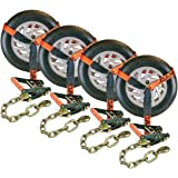 """Vulcan ProSeries 96"""" Lasso Auto Tie Down w/Chain Anchors, 3300 lbs. SWL, 4 Pack"""