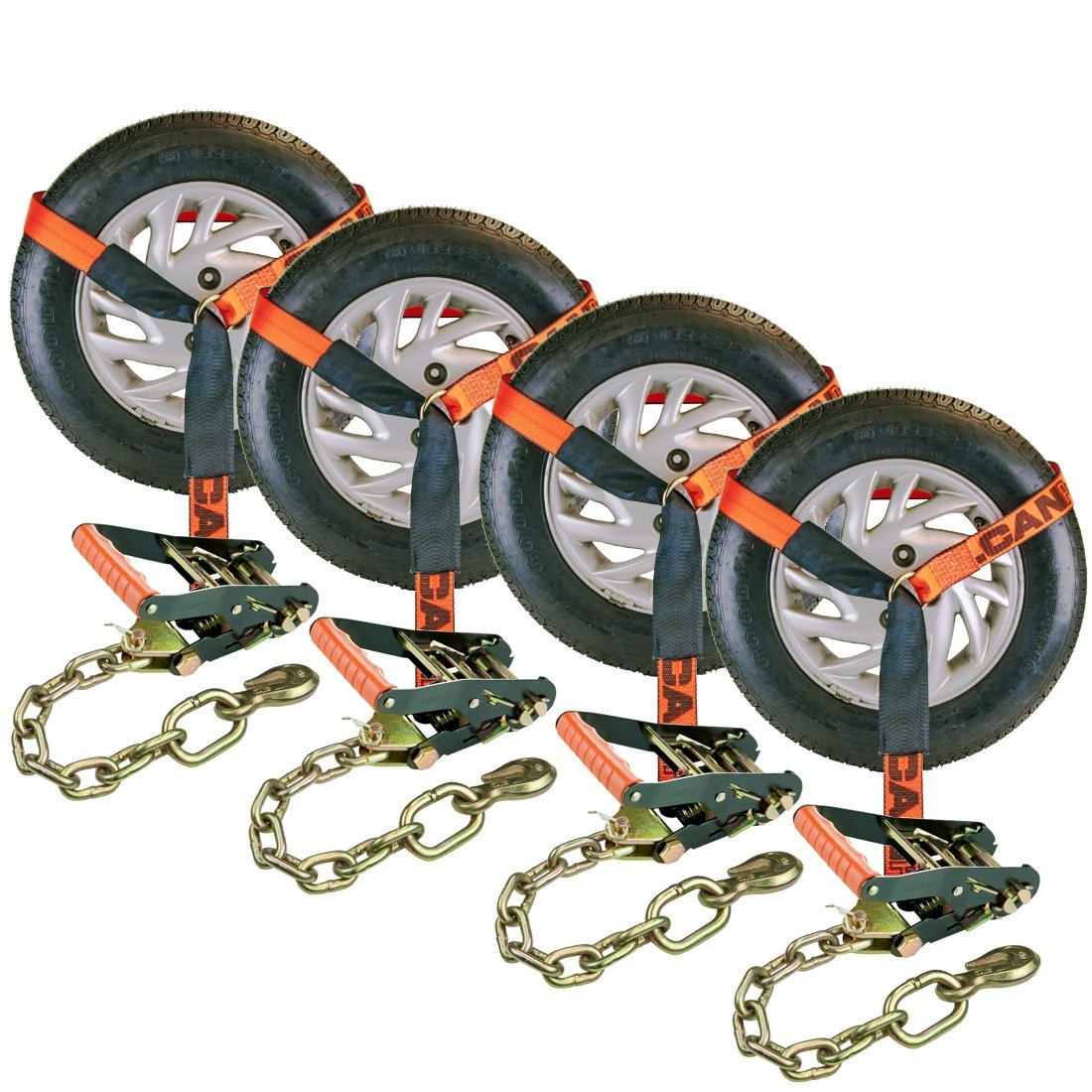 Vulcan ProSeries 96'' Lasso Auto Tie Down w/Chain Anchors, 3300 lbs. SWL, 4 Pack