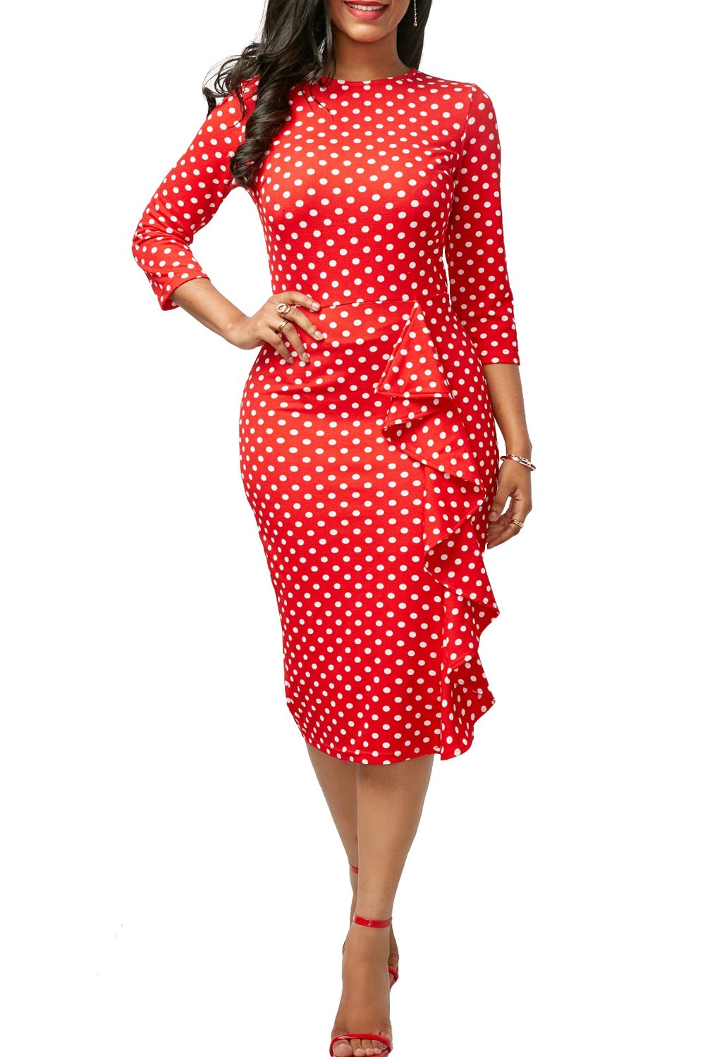 Yacun Women Polka Dot Long Sleeve Midi Bodycon Pencil Work Dress CAMCH5426