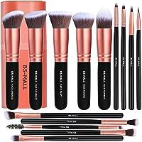 BS-MALL Makeup Brushes Premium Synthetic Foundation Powder Concealers Eye Shadows Makeup 14 Pcs Brush Set, Rose Golden…