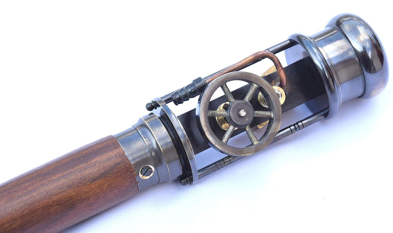 Neovivid Walking Cane Stick with Working Steam Engine Model, Steampunk Walking Cane Stick MU009