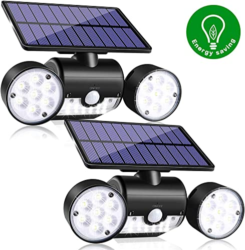 JosMega Solar Motion Sensor Lights Outdoor, IP65 Waterproof 360 Rotatable, Solar Powered Security Wall Lights with 30 LED Solar Flood Lights Spot Lights