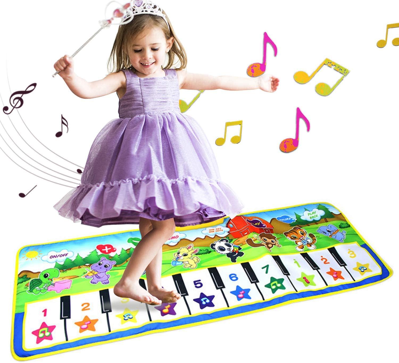 Alfombrillas musicales para niños, letease, piano para bebé, manta de juguete para jugar al juego, baile, música, animal, bebé, educación temprana, juguetes para niños regalo (Model B)