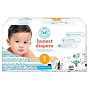 The Honest Company Club Box Baby Diapers, Teal Tribal & Space Travel, Size 1, 80 Count