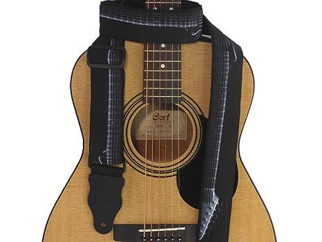 Correa para guitarra con guitarra. Negro y Blanco. Para de ...
