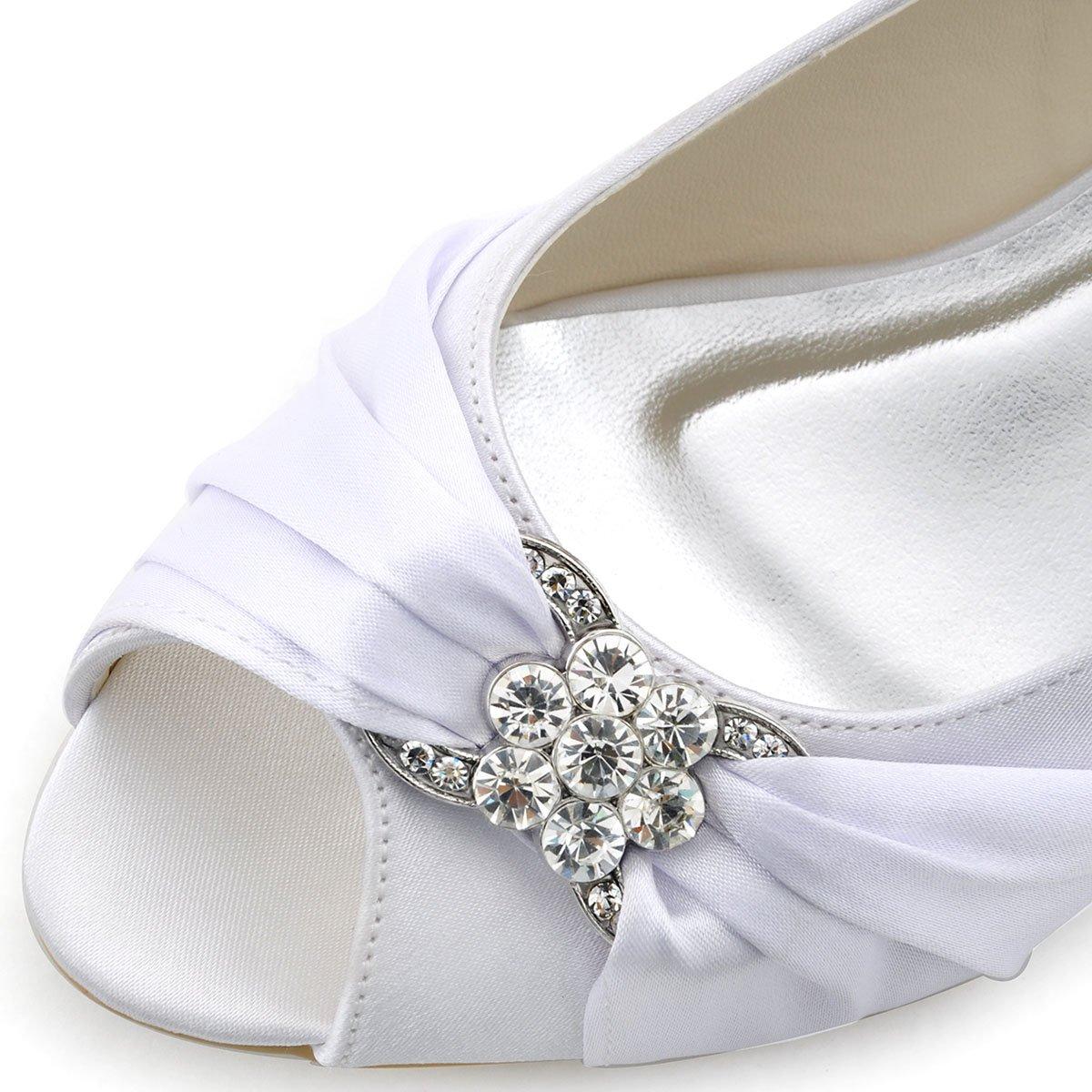 ElegantPark WP1403 Women Peep Toe Wedges Heel Rhinestones Satin Wedding  Bridal Shoes 7458f3c36bb6
