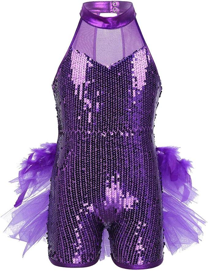 ranrann Vestido de Ballet Lentejuelas para Niña Maillot Danza ...