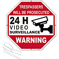 """FPYJG-""""24 H Vedio Surveillance- TRESPASSERS Will BE PROSECUTED Rust Free Aluminum Warning Sign; 1212OR1818; Waterproof…"""