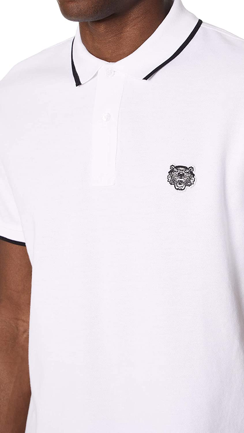 Kenzo Mens Regular Fit Tiger Crest Polo X-Large White