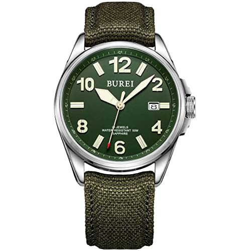 BUREI Military Automatic Mens Watch Waterproof Mechanical Watch with Date Analogue Display and Canvas Strap Sports Design Gift for Men