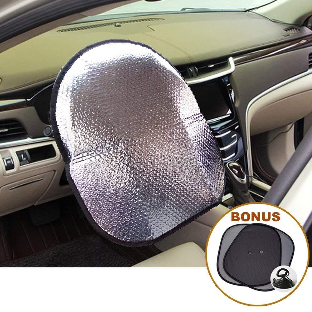 Big Ant Car Sun Shade, Steering Wheel Cover Sun Shade + Bonus Side window Sunshade, Front Car Windshield Sunshade - Heat Reflector Fit Most Jumbo/Standard Car - Sliver