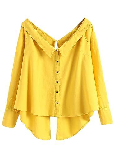Azbro Mujer Camisa Cuello V con Mangas Largas Botones de Color Sólido