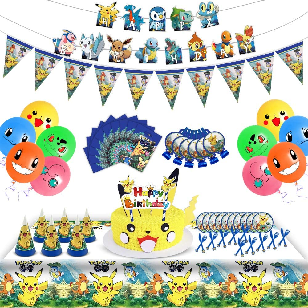Gift Bags Blowing Dragon Hats Happy Birthday Decoration Table Cloth Serves 10 Guests 102 Pcs Birthday Party Decorations Supplies Packs for Kids Includes Flatware Banner Cake Topper Baichuang Party Supplies Set Balloons Plates