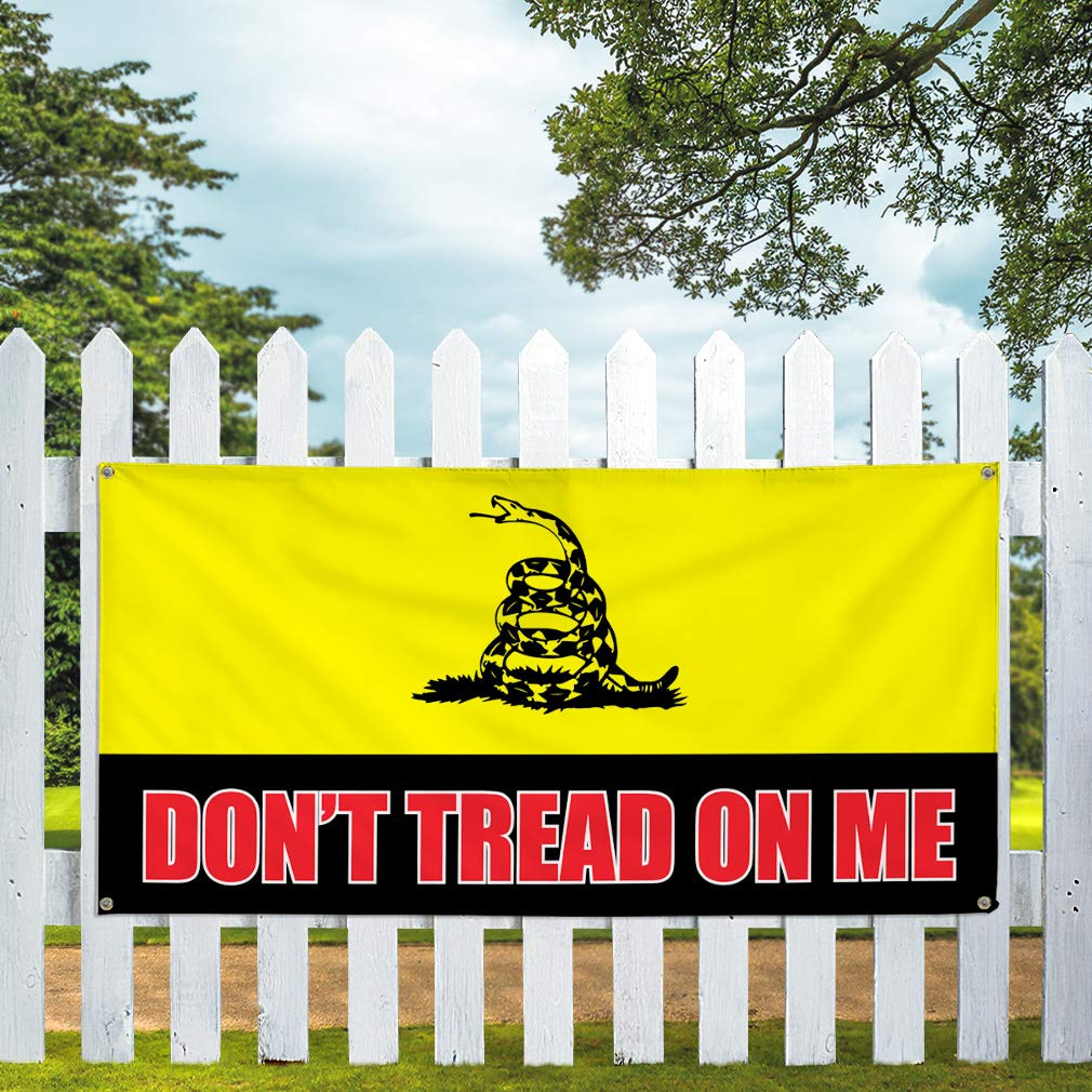 Vinyl Banner Sign Dont Tread On Me #1 Business Snake Marketing Advertising Yellow 4 Grommets Set of 3 Multiple Sizes Available 24inx60in