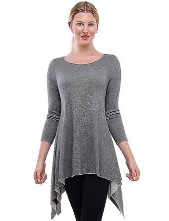 e46e5ebaf36 TAM WARE Womens Stylish Long Sleeve French Terry Tunic Top (Made in USA)  TWAWD2167