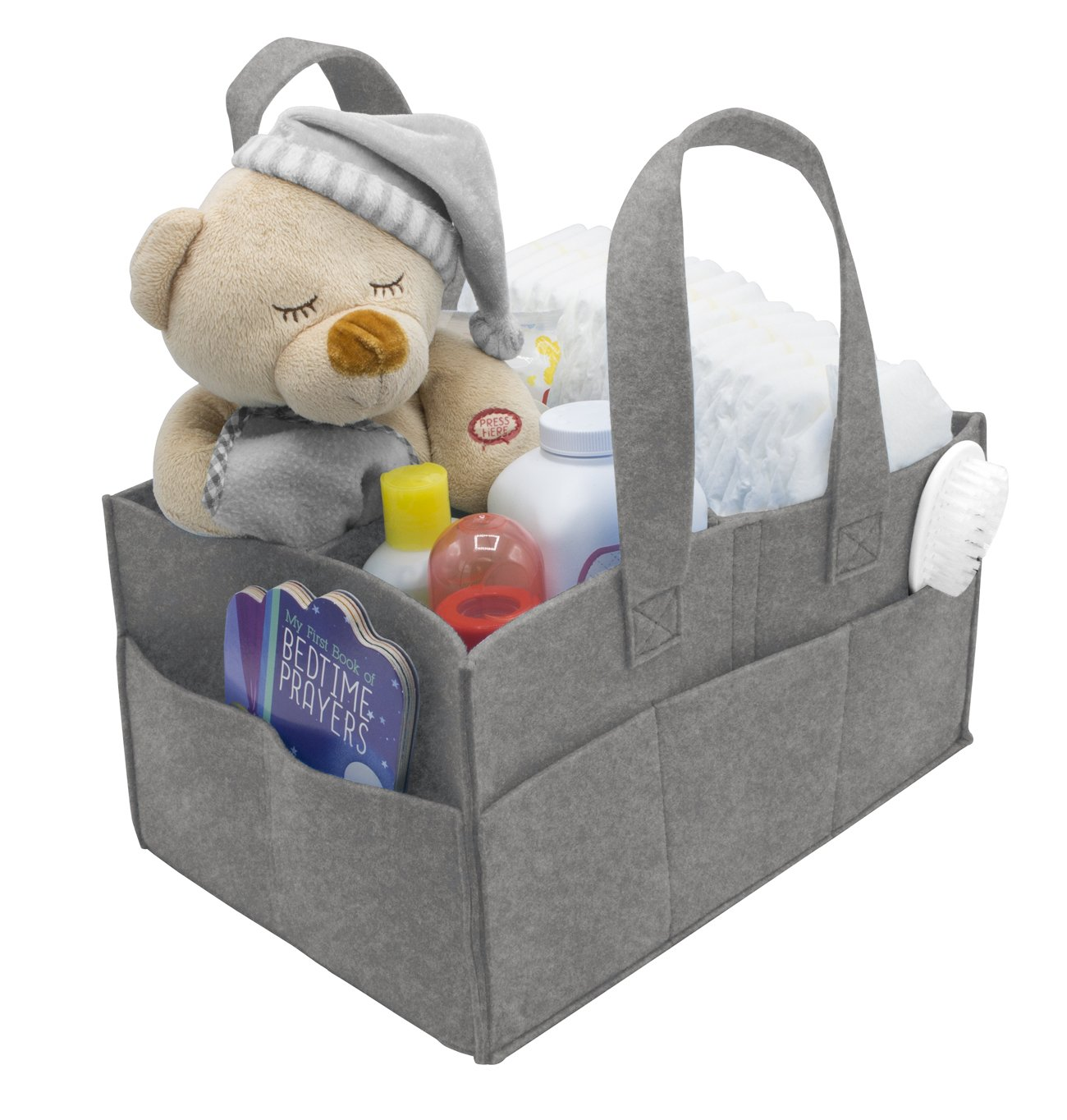 Sorbus Baby Diaper Caddy Organizer | Nursery Storage Bin for Diapers, Wipes & Toys | Portable Car Storage Basket | Changing Table Organizer | Great Baby Shower Gift Basket (Gray) STRG-CAFT-GRYA