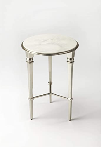 White and Silvertone Iron/Marble/Aluminum End Table Silver Modern Contemporary Round Aluminum Iron Marble Handmade