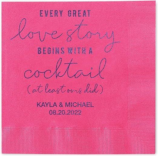 100 Custom Printed Love Story Paper Wedding Napkins Beverage Cocktail