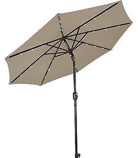 Trademark Innovations Deluxe Solar Powered LED Lighted Patio Umbrella   8u0027  ...