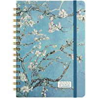 """2020 Planner - 2020 Weekly & Monthly Planner Jan - Dec with Flexible Hardcover, 8.46"""" x 6.37"""", Strong Twin- Wire Binding, 12 Monthly Tabs, Inner Pocket, Elastic Closure"""