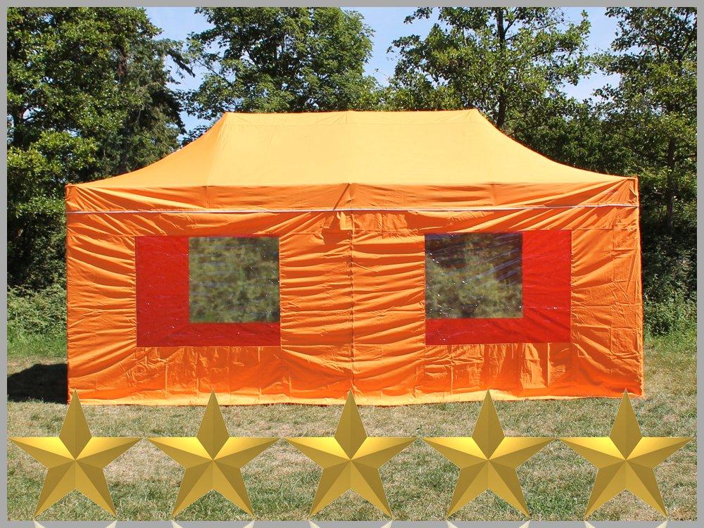 Faltzelt Faltpavillon 3x6m 6x3m Orange Mit 6 Seitenteilen Partyzelt