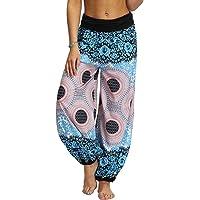 Nuofengkudu Mujer Hippies Pantalones Largos Boho Cintura Alta Yoga Pants