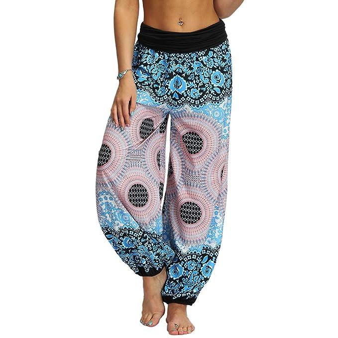 Nuofengkudu Mujer Hippies Pantalones Largos Boho Cintura ...