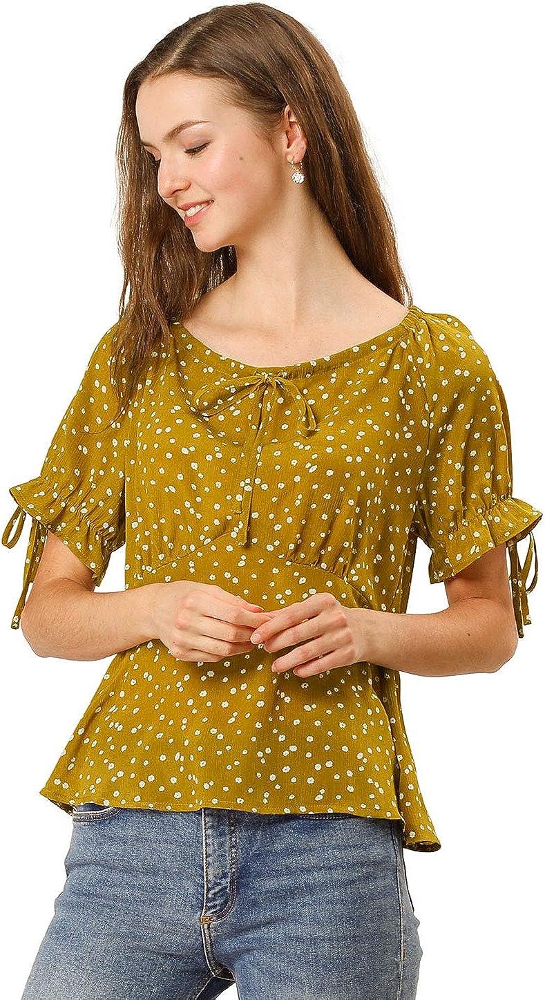 Allegra K Camisa Floral Peplum con Blusa De Lunares Cuello Redondo con Cordón Manga Corta para Mujeres