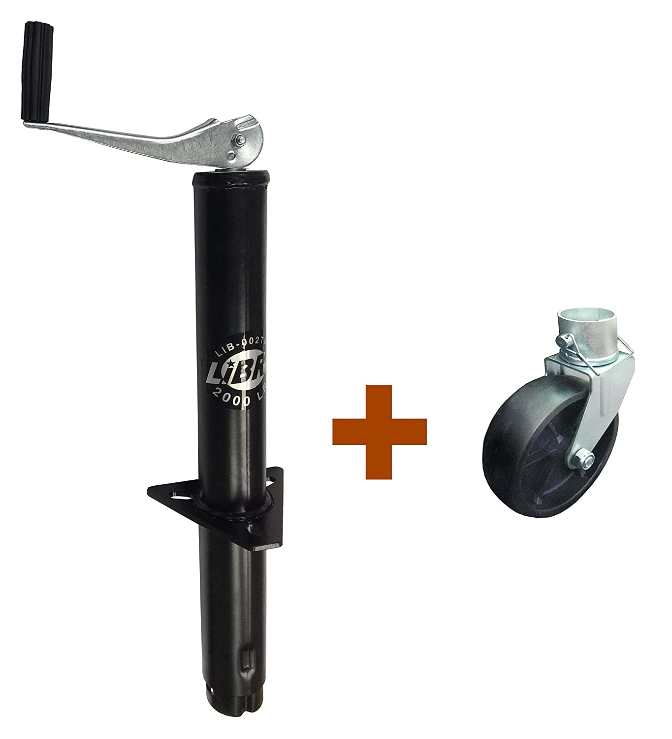 New LIBRA 2000 lbs A Frame Topwind Trailer Camper RV Tongue Jack with 6' Caster wheel 26003/26024