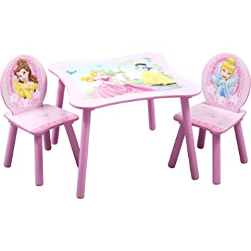 Amazon.com: Disney Princess Kids\' 3 Piece Table & Chair Set, Kids ...