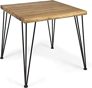 Christopher Knight Home Audrey Indoor Industrial Acacia Wood Dining Table, Teak Finish, Rustic Metal