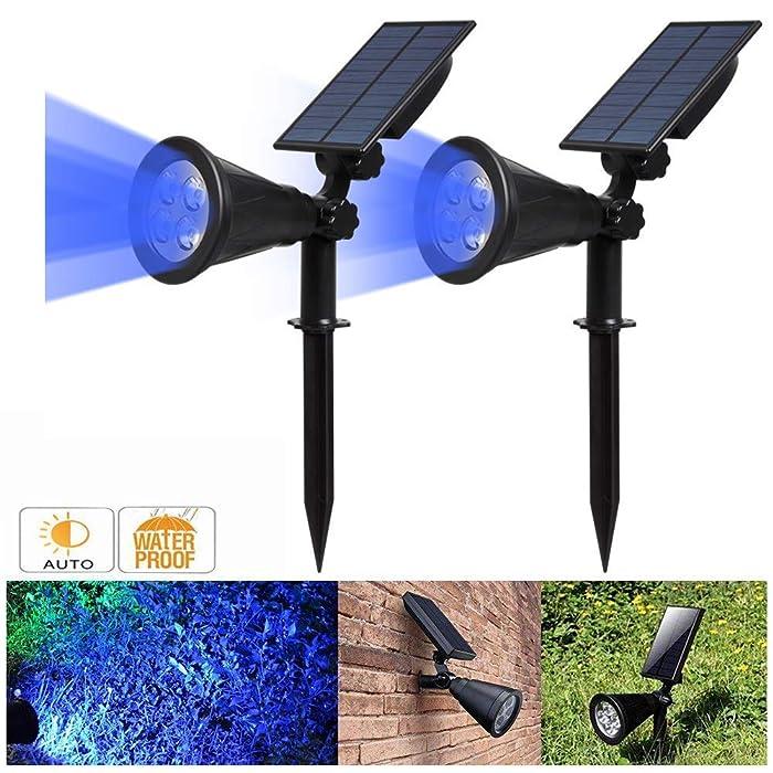 Solar Spotlight, IP65 Waterproof 4 LED Solar Lights Wall Light,Auto-on/Off Security Light Landscape Light 180° angle Adjustable for Tree,Patio,Yard,Garden,Driveway,Pool Area.T-SUNRISE(2 Pack Blue)