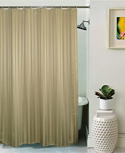 Lushomes Unidyed Beige Polyester Shower Curtain with 12 Plastic Eyelets