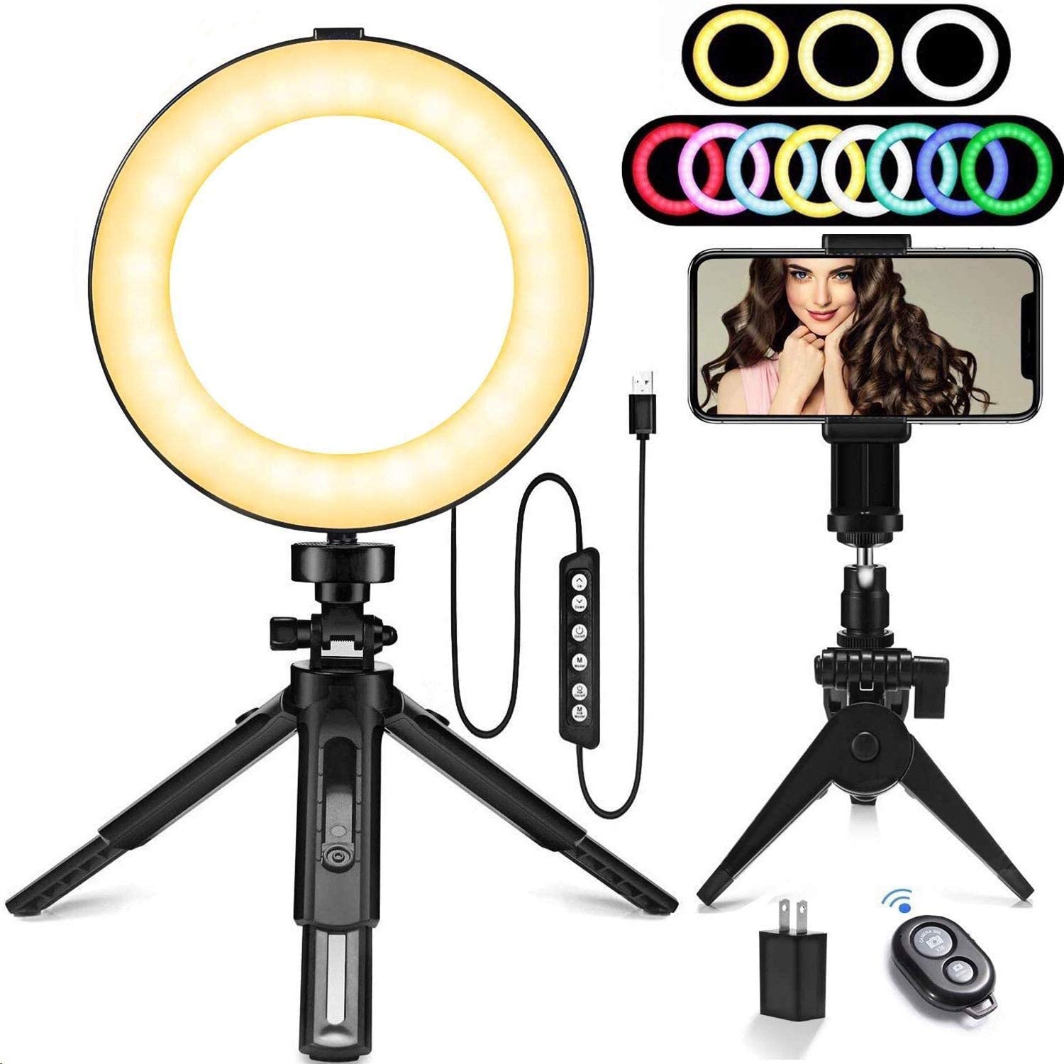 """Ring Light, 10 Brightness Levels,11 Colour Bulbs, 6"""" RGB Dimmable LED Ring Light kit with Adjustable Tripod Stand and Cell Phone Holder,Led Camera Desktop Ring Light for Selfie,Makeup,YouTube Video"""