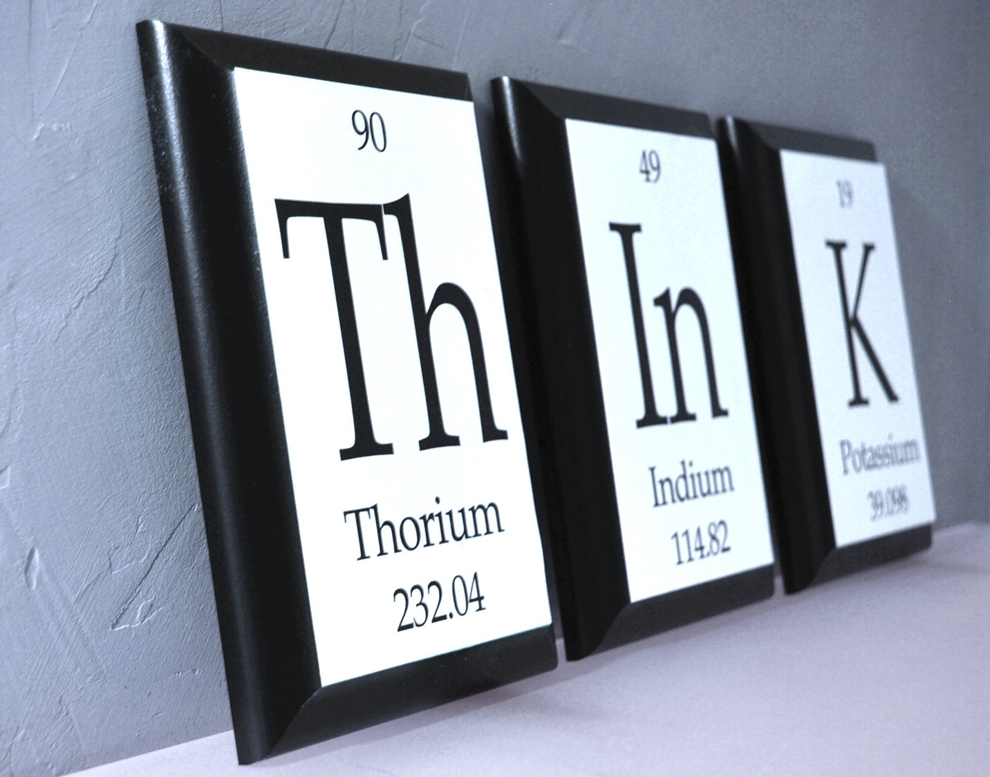 Amazon think periodic table of elements plaques think wood amazon think periodic table of elements plaques think wood sign 3 pc set each 5x7 geeky home decor home kitchen gamestrikefo Images