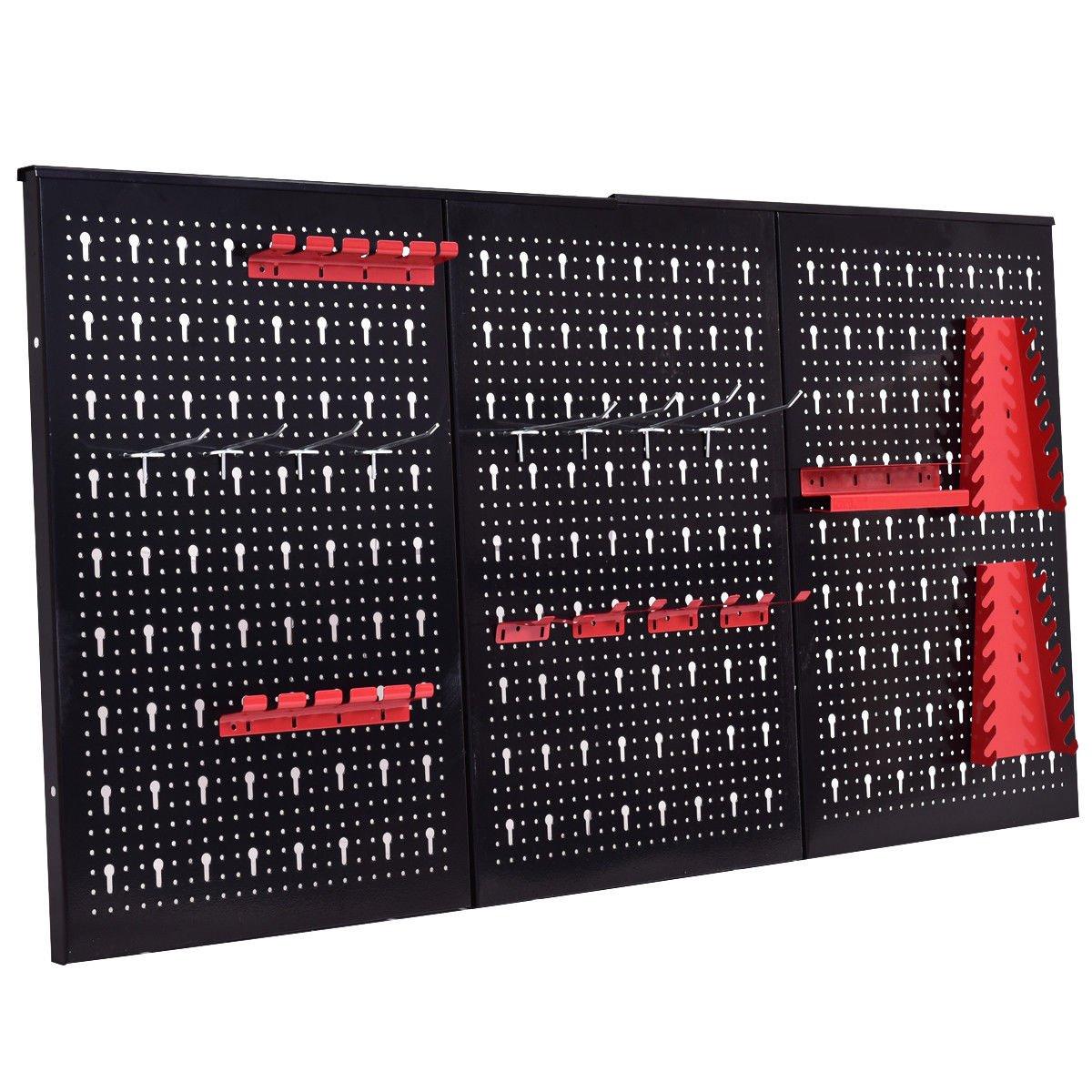 24'' x 48'' Metal Pegboard Panels Garage Tool Board Storage Organizer Holder Black by allgoodsdelight365 (Image #5)