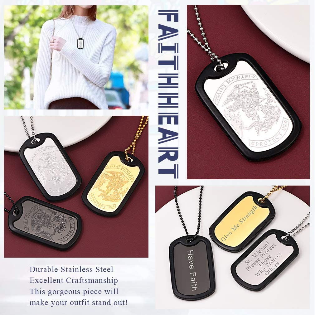 FaithHeart Personalized Dog Tag Necklace Stainless Steel//Silicone Text//Photo Custom Pendant Jewelry Saint Michael Protector Talisman Gift for Men Women Gift Packaging