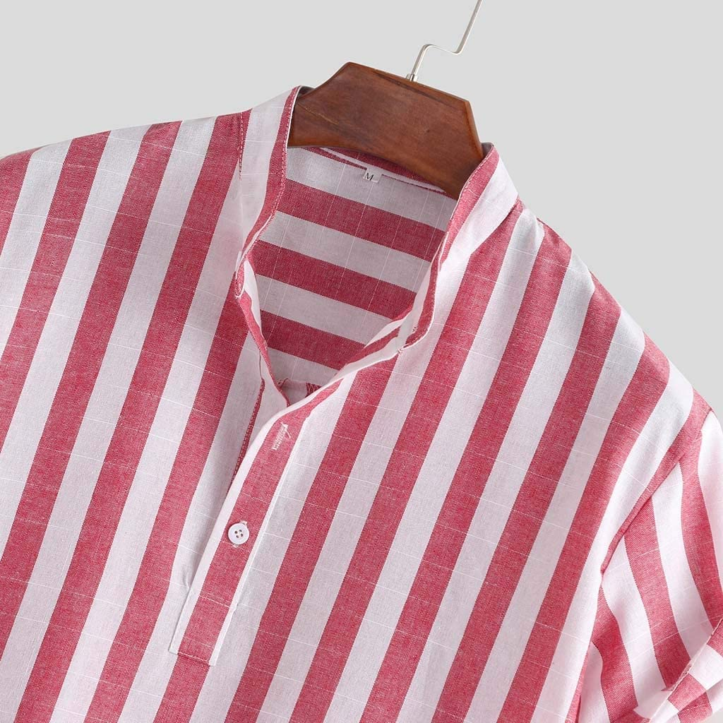 Mens Henleys,Short Sleeve Striped Henley Neck Loose Button up Vintage Ethnic Style Hawaiian Shirts for Beach Holiday