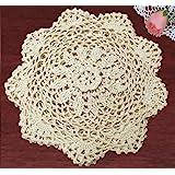 """Creative Linens 6PCS 8"""" Round Crochet Lace Doily Beige 100% Cotton Handmade, Set of 6 Pieces"""